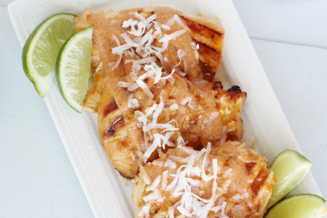 coconut lime grilled chicken with sweet chili sauce