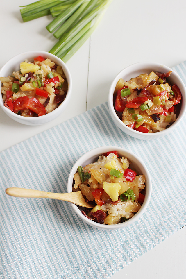 Easy Tropical Chicken and Rice Bake Aerial View in 3 small white bowls