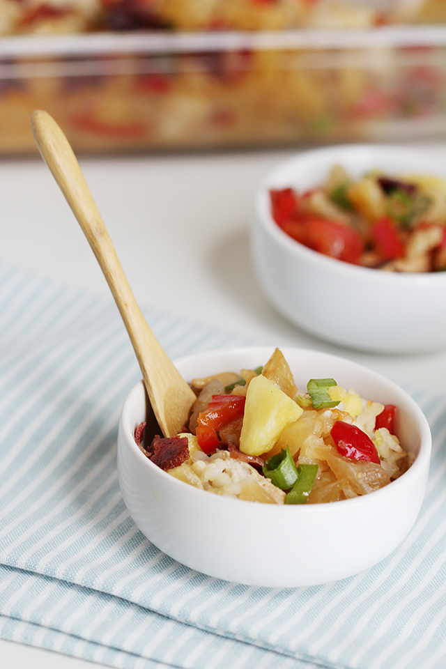 Easy Tropical Chicken and Rice Bake in small white bowls
