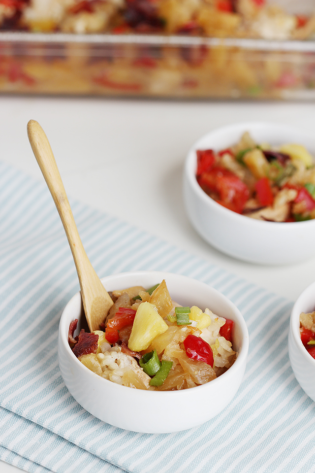 Easy Tropical Chicken and Rice Bake Closeup in a Small white Bowl
