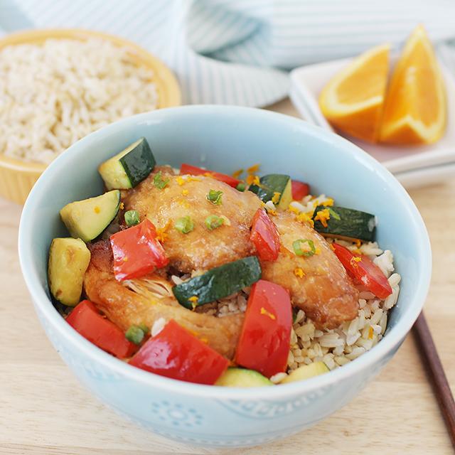 crockpot orange chicken with rice pepers and zucchini