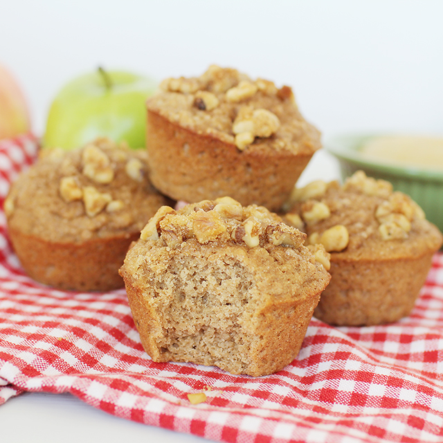 stack of delicious 100% whole wheat applesauce muffins for kids