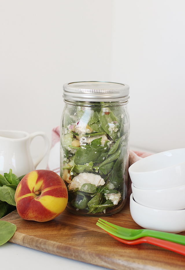 Sweet and Savory Peach Quinoa Salad in a Sealed Jar